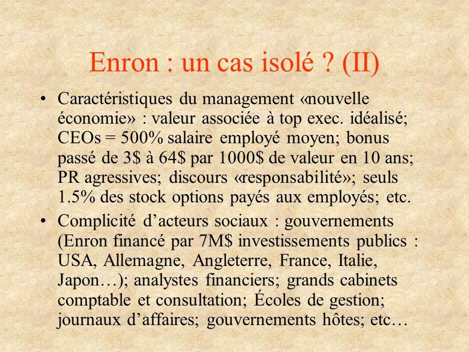 Enron : un cas isolé (II)