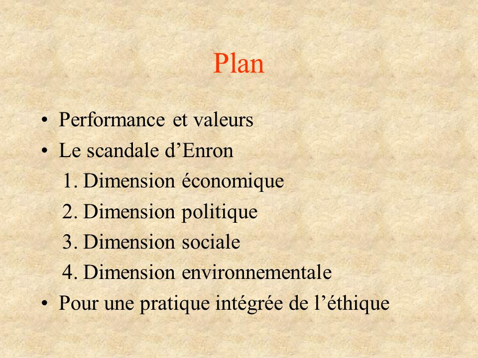 Plan Performance et valeurs Le scandale d'Enron