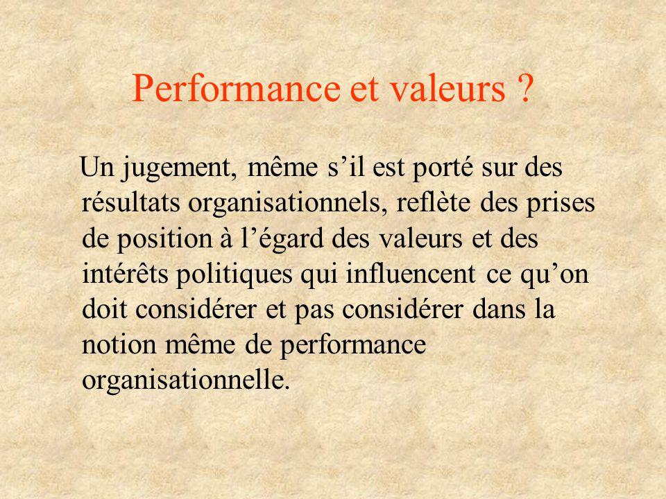 Performance et valeurs