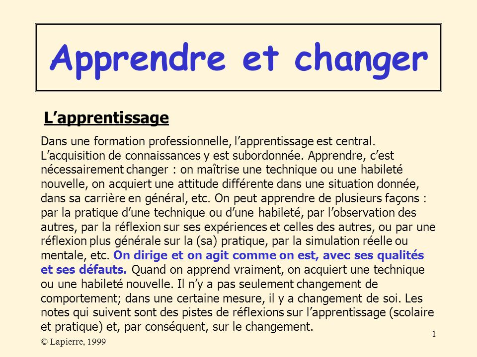 Apprendre et changer L'apprentissage
