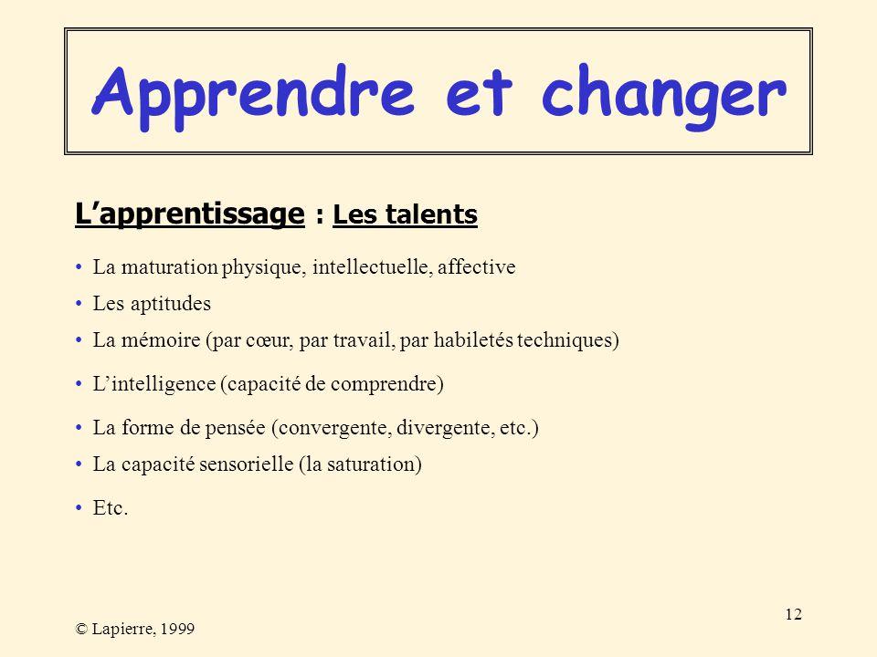 Apprendre et changer L'apprentissage : Les talents
