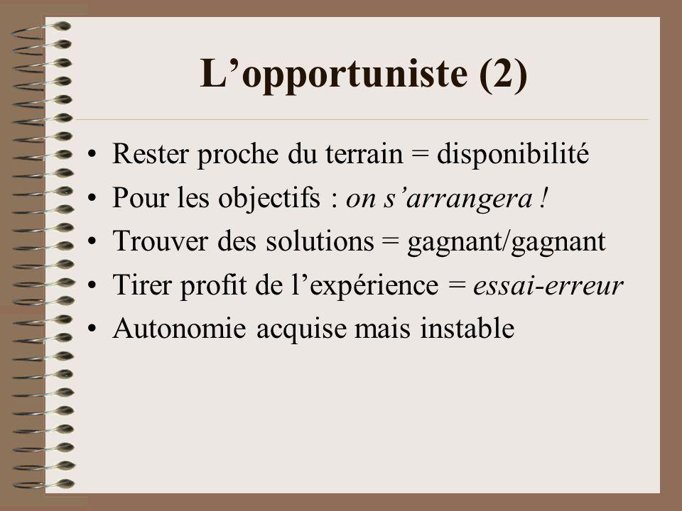 L'opportuniste (2) Rester proche du terrain = disponibilité