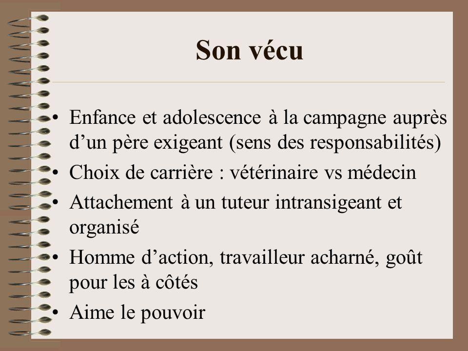 Son vécu Enfance et adolescence à la campagne auprès d'un père exigeant (sens des responsabilités) Choix de carrière : vétérinaire vs médecin.