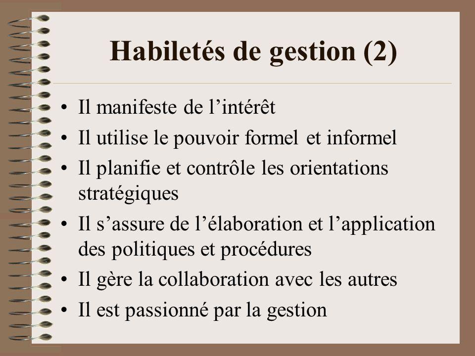 Habiletés de gestion (2)