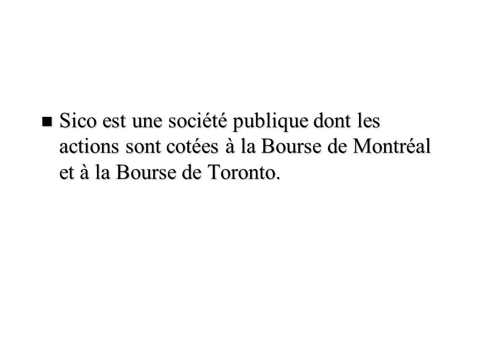 Sico est une société publique dont les actions sont cotées à la Bourse de Montréal et à la Bourse de Toronto.