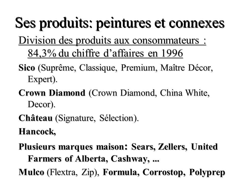 Ses produits: peintures et connexes