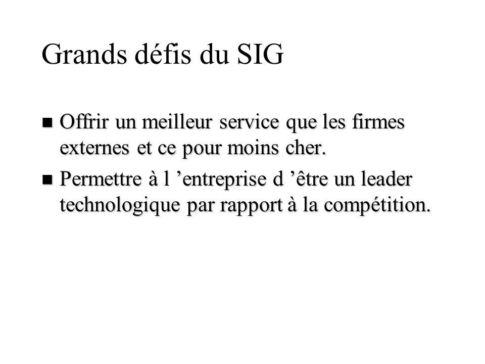 Grands défis du SIG Offrir un meilleur service que les firmes externes et ce pour moins cher.