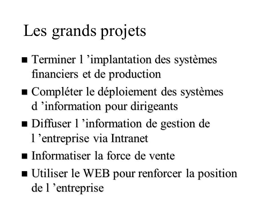 Les grands projets Terminer l 'implantation des systèmes financiers et de production.