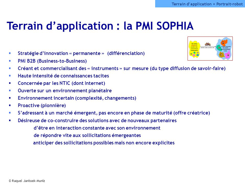 Terrain d'application : la PMI SOPHIA