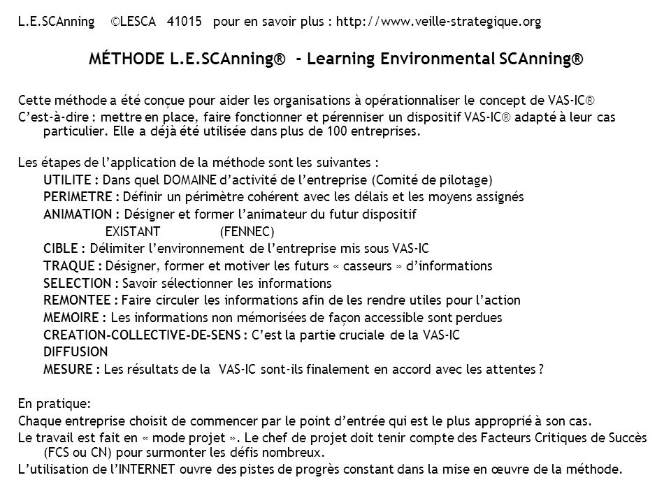 MÉTHODE L.E.SCAnning® - Learning Environmental SCAnning®