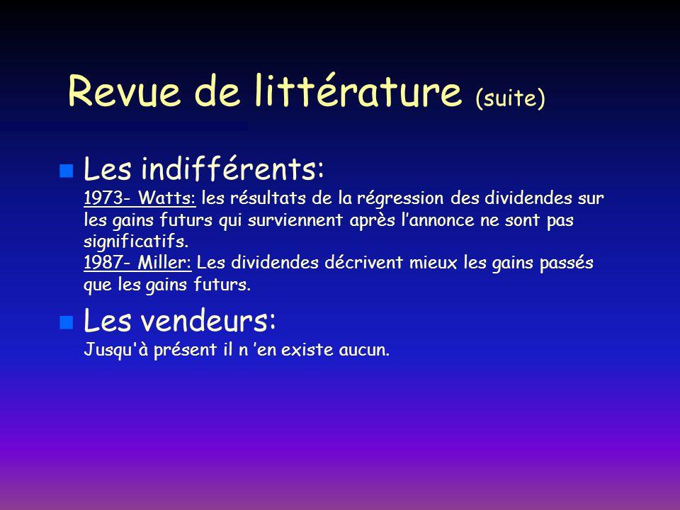 Revue de littérature (suite)