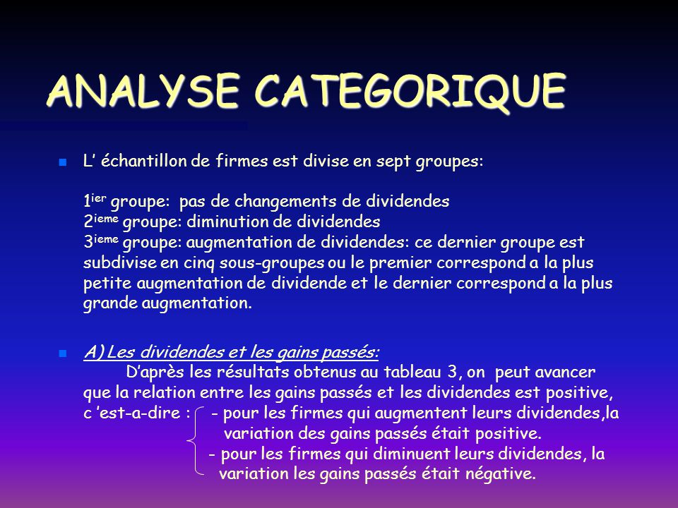 ANALYSE CATEGORIQUE