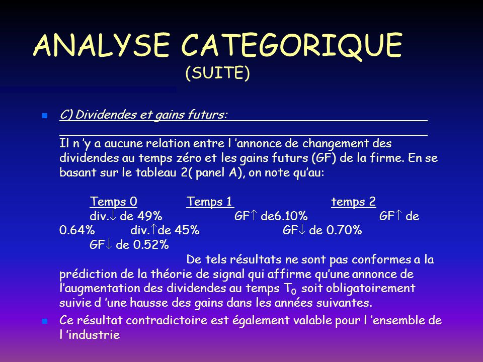 ANALYSE CATEGORIQUE (SUITE)