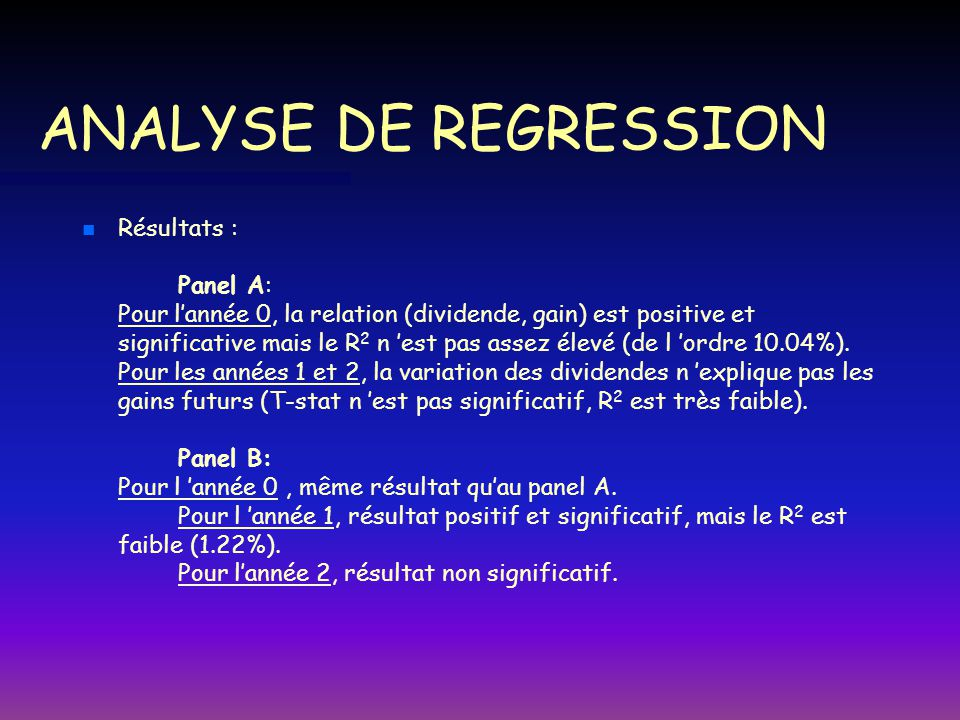 ANALYSE DE REGRESSION