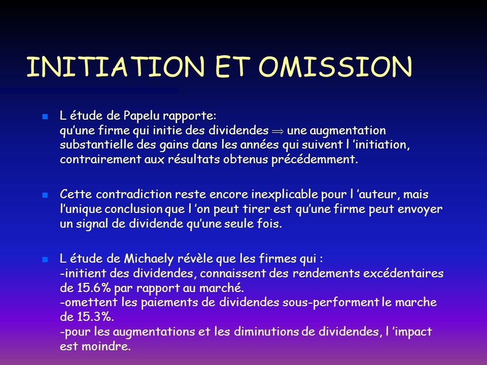 INITIATION ET OMISSION