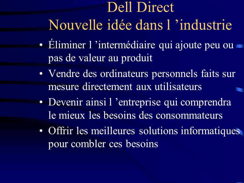 Dell Direct Nouvelle idée dans l 'industrie