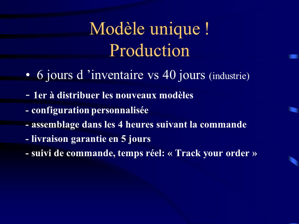 Modèle unique ! Production