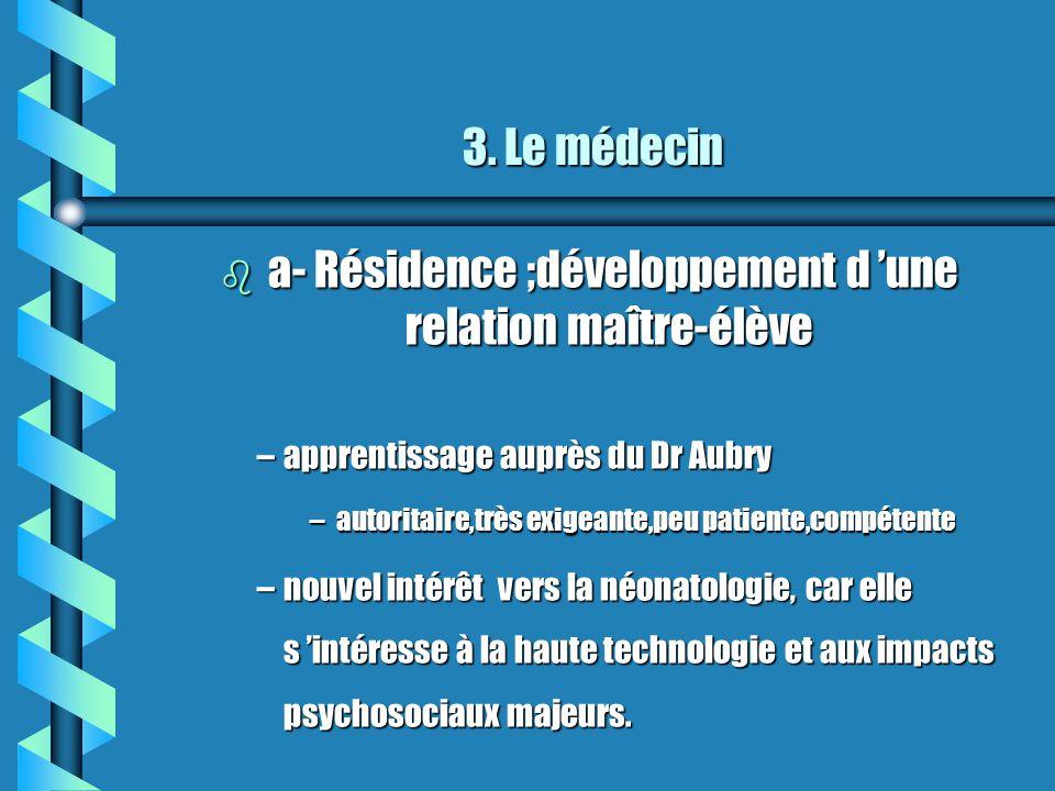 a- Résidence ;développement d 'une relation maître-élève