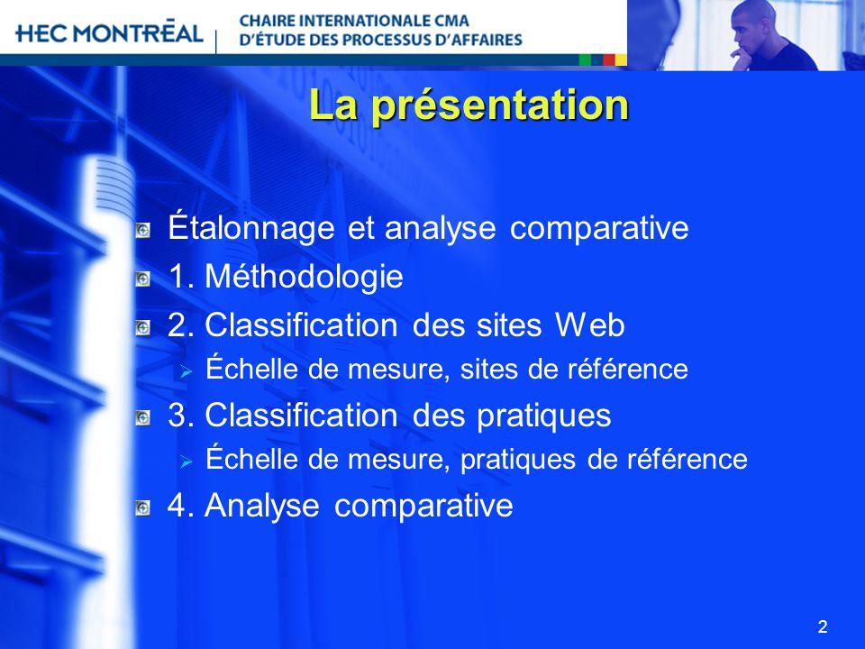 La présentation Étalonnage et analyse comparative 1. Méthodologie
