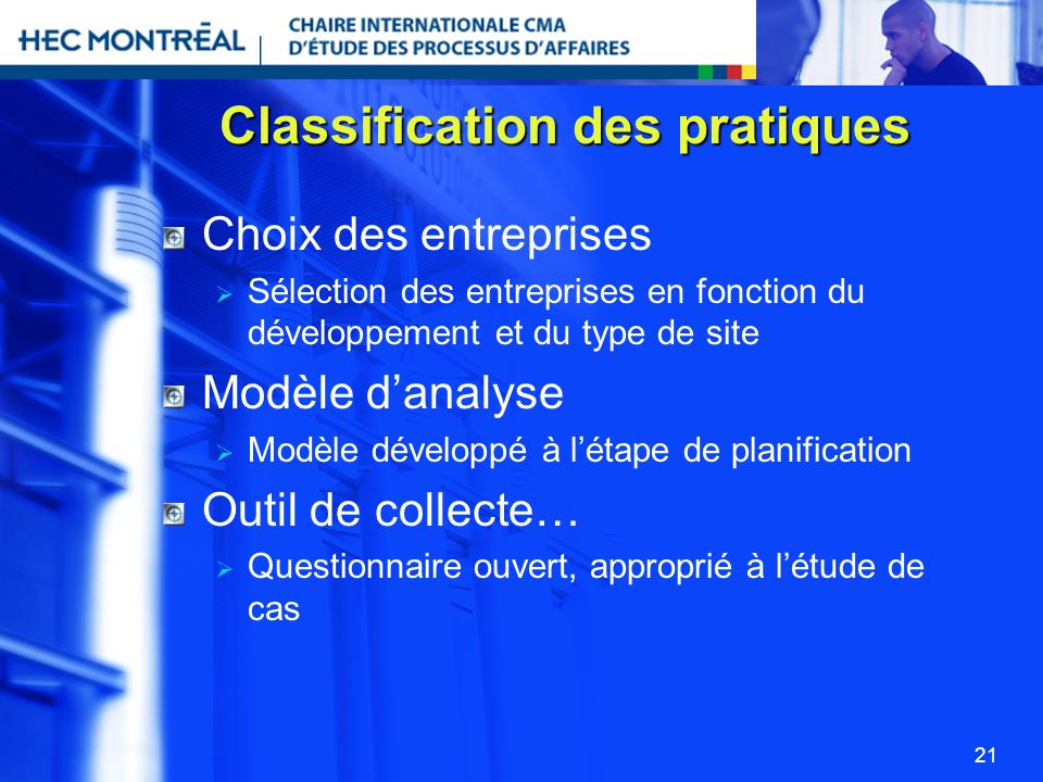 Classification des pratiques