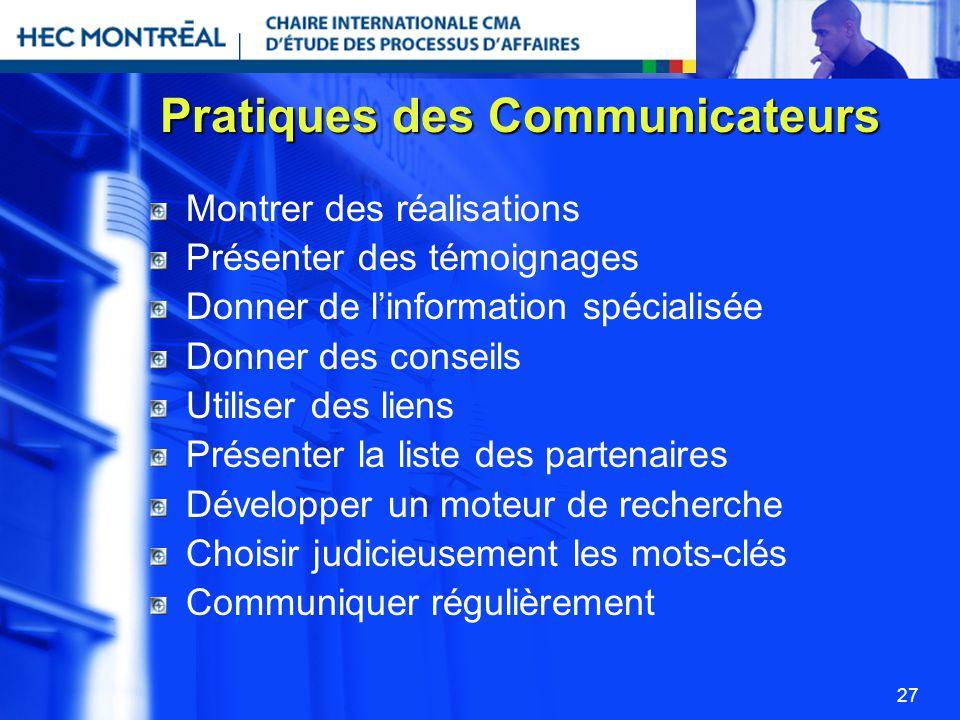 Pratiques des Communicateurs