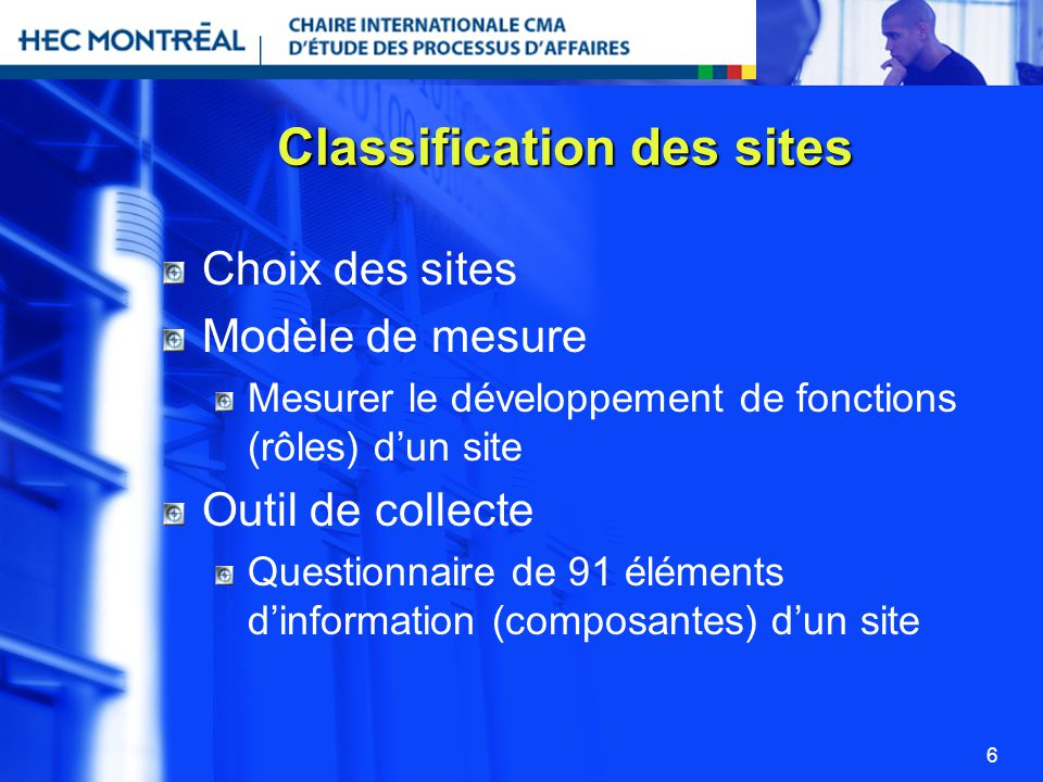 Classification des sites