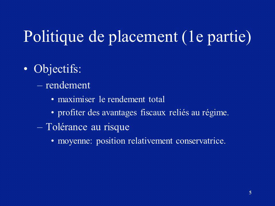 Politique de placement (1e partie)