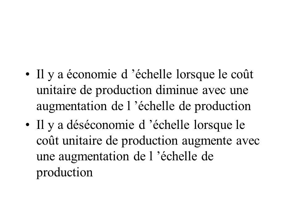 Il y a économie d 'échelle lorsque le coût unitaire de production diminue avec une augmentation de l 'échelle de production
