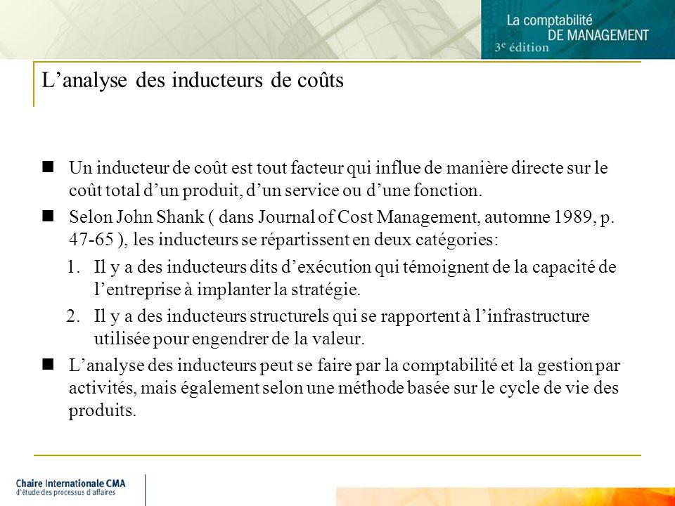L'analyse des inducteurs de coûts