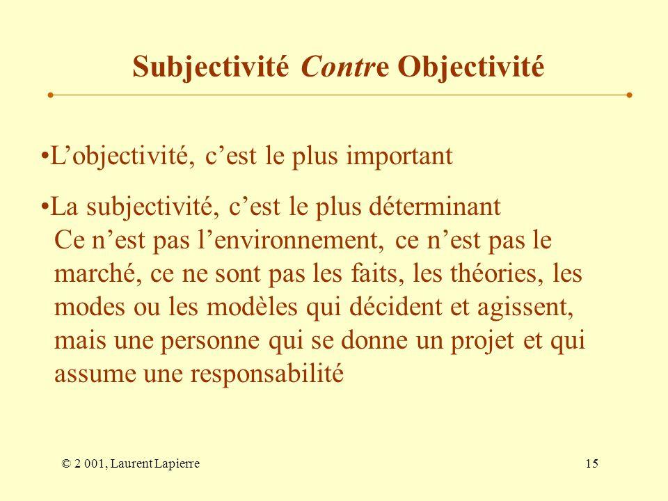 Subjectivité Contre Objectivité