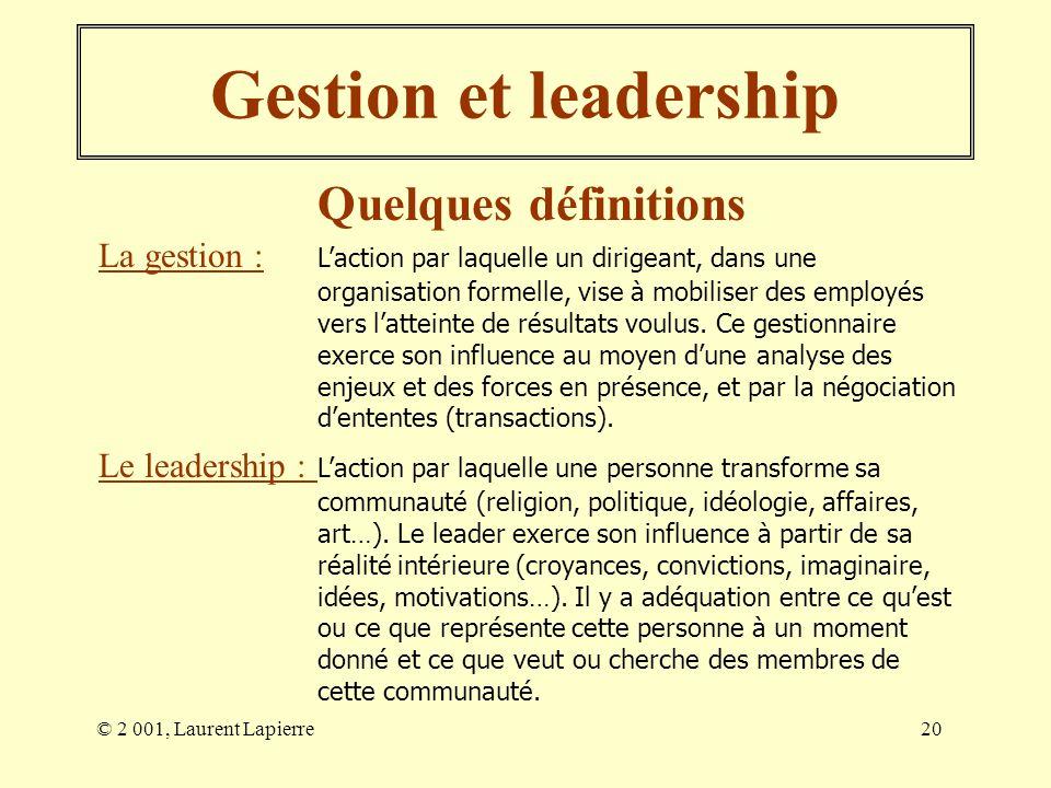 Gestion et leadership Quelques définitions