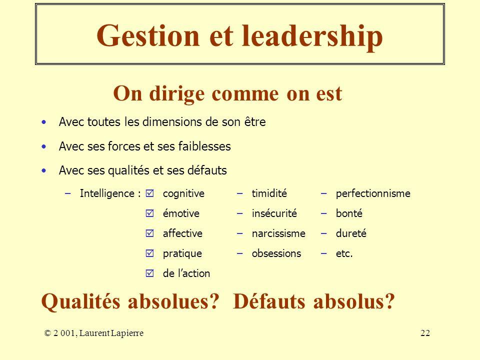 Gestion et leadership On dirige comme on est