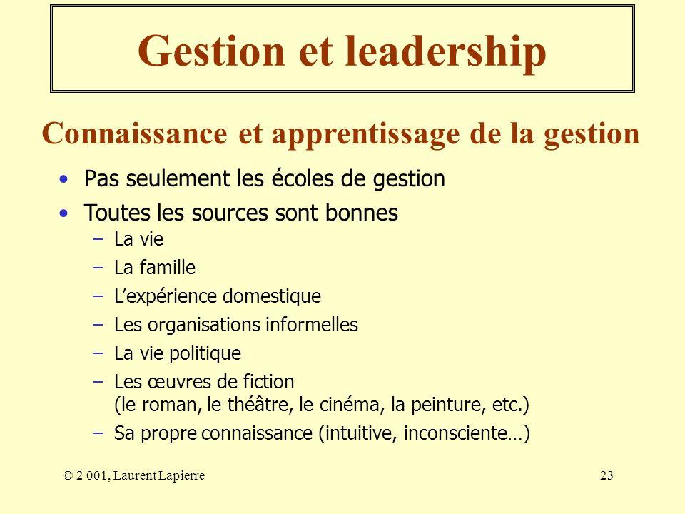 Gestion et leadership Connaissance et apprentissage de la gestion