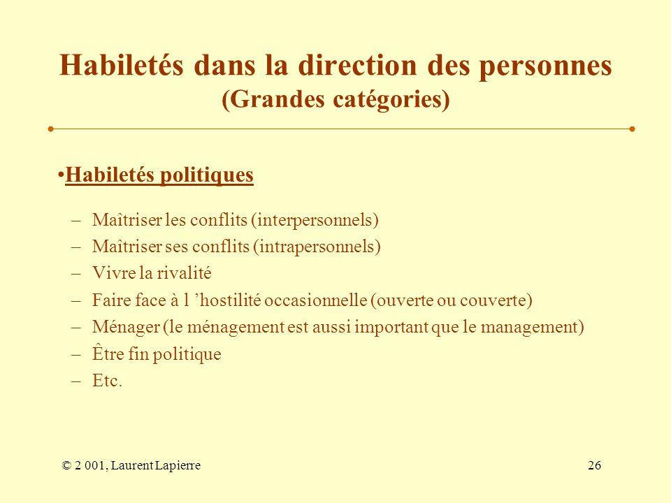 Habiletés dans la direction des personnes (Grandes catégories)