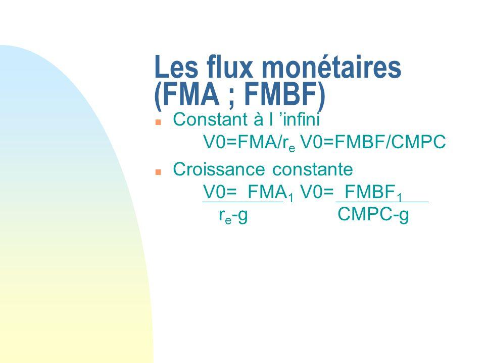 Les flux monétaires (FMA ; FMBF)