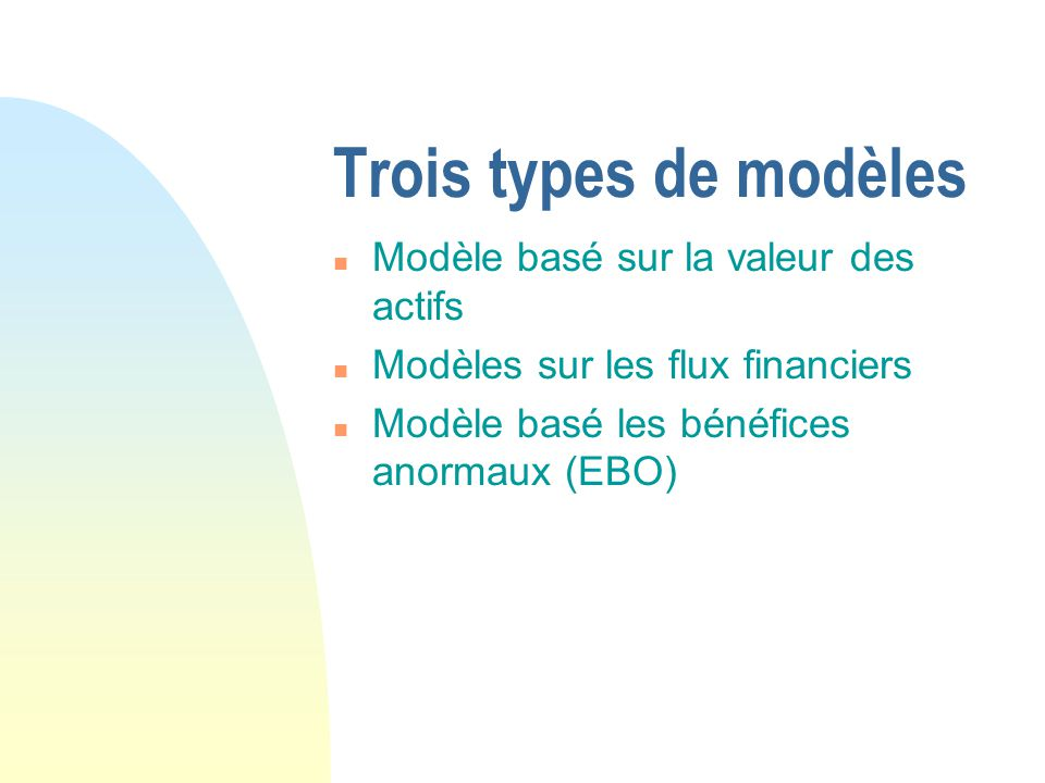 Trois types de modèles Modèle basé sur la valeur des actifs