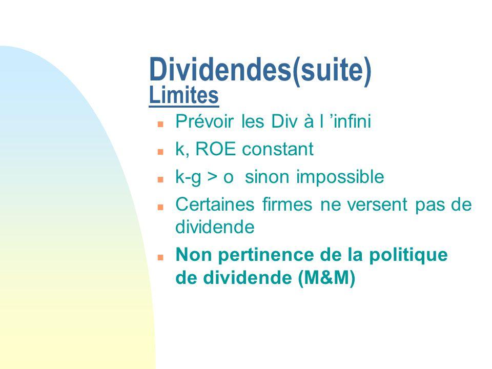 Dividendes(suite) Limites