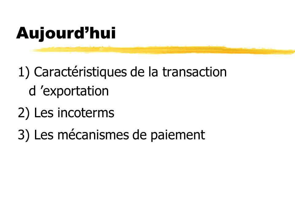 Aujourd'hui 1) Caractéristiques de la transaction d 'exportation