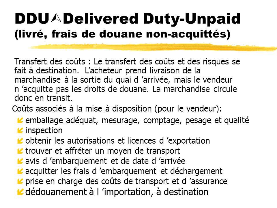 DDUDelivered Duty-Unpaid (livré, frais de douane non-acquittés)