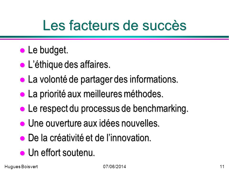 Les facteurs de succès Le budget. L'éthique des affaires.
