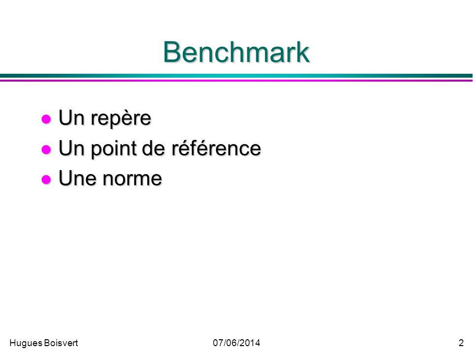 Benchmark Un repère Un point de référence Une norme