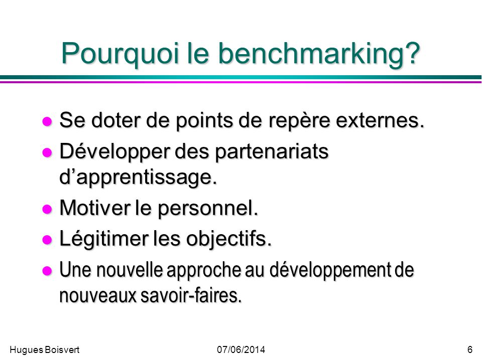 Pourquoi le benchmarking