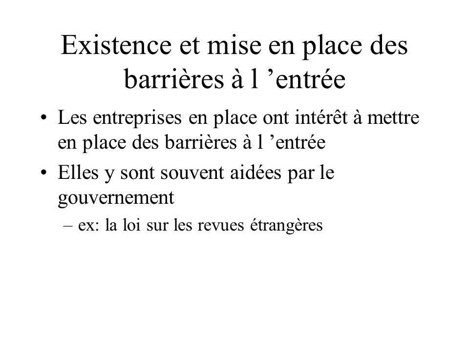 Existence et mise en place des barrières à l 'entrée