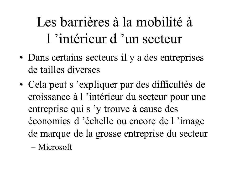 Les barrières à la mobilité à l 'intérieur d 'un secteur