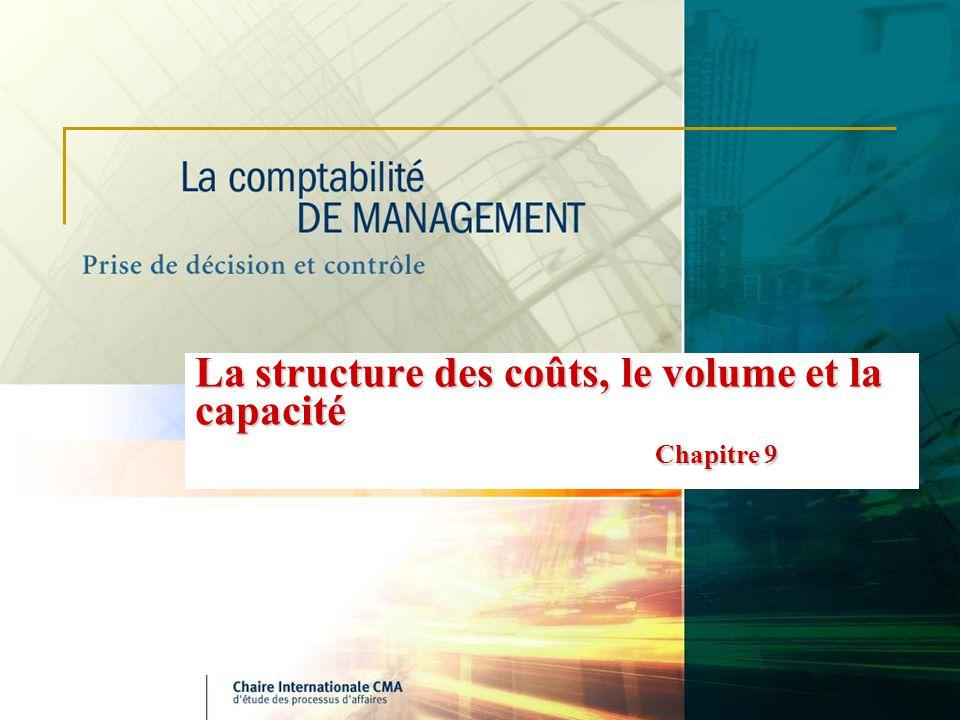 La structure des coûts, le volume et la capacité Chapitre 9