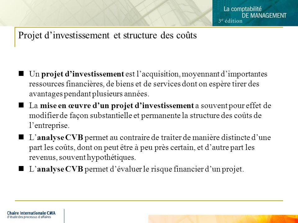 Projet d'investissement et structure des coûts