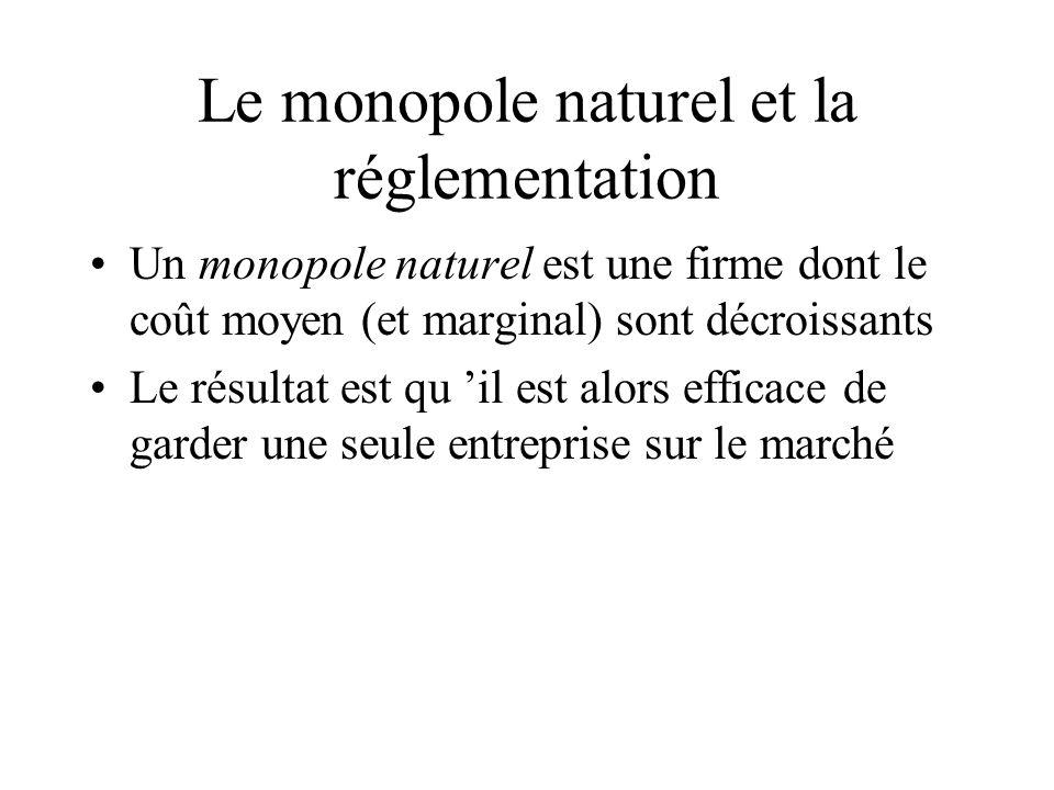 Le monopole naturel et la réglementation