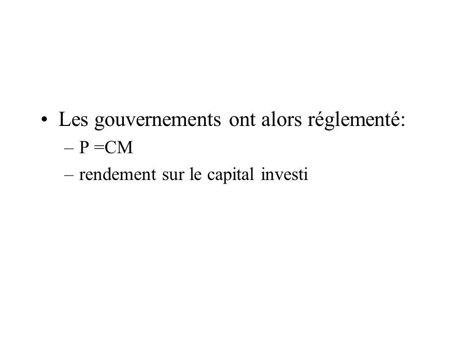 Les gouvernements ont alors réglementé: