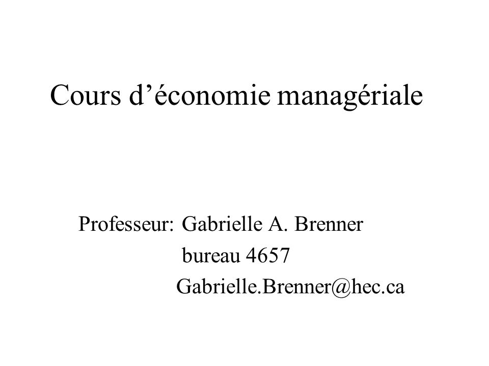 Cours d'économie managériale
