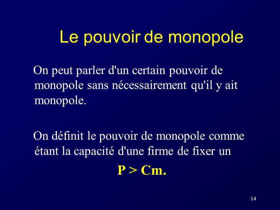 Le pouvoir de monopole On peut parler d un certain pouvoir de monopole sans nécessairement qu il y ait monopole.